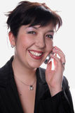 Mulher de negócio com móbil Imagem de Stock Royalty Free
