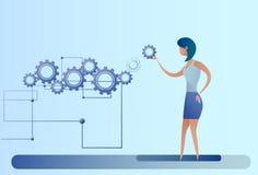 Mulher de negócio com a mulher de negócios Brainstorming Process da roda da roda denteada ilustração royalty free