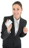 Mulher de negócio com o cartão em branco do pagamento Foto de Stock Royalty Free