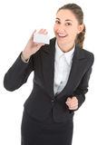Mulher de negócio com o cartão em branco do pagamento Imagem de Stock Royalty Free