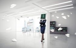 Mulher de negócio com o monitor em vez da cabeça Imagem de Stock