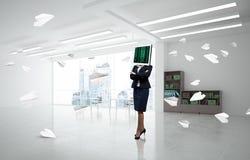 Mulher de negócio com o monitor em vez da cabeça Fotos de Stock Royalty Free