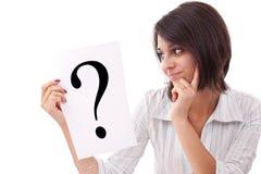Mulher de negócio com ponto de interrogação Imagens de Stock Royalty Free