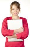 Mulher de negócio com portátil Foto de Stock Royalty Free