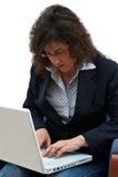 Mulher de negócio com portátil Imagem de Stock Royalty Free