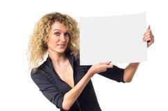 Mulher de negócio com poster em branco fotos de stock