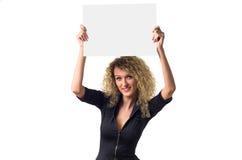 Mulher de negócio com poster em branco fotografia de stock