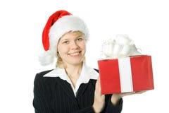 Mulher de negócio com presente da caixa Imagem de Stock Royalty Free