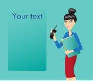 Mulher de negócio com telefone e originais Fotografia de Stock