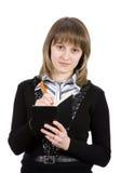 Mulher de negócio com um bloco de notas. Isolado no branco Foto de Stock