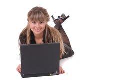 mulher de negócio com um portátil Imagens de Stock
