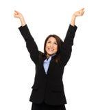 A mulher de negócio comemora foto de stock royalty free