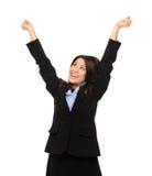 A mulher de negócio comemora imagem de stock royalty free