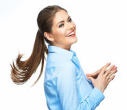 Mulher de negócio da gritaria com cabelo longo do movimento Imagem de Stock