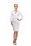 Mulher de negócio de cabelo loura no terno do branco do verão Foto de Stock