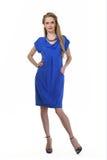 Mulher de negócio de cabelo loura no vestido do verão Imagem de Stock