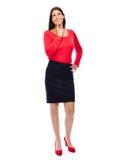 Mulher de negócio de pensamento no vermelho Imagem de Stock