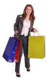 Mulher de negócio de riso com saco do presente. imagens de stock