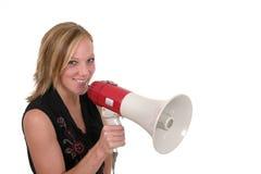 Mulher de negócio de sorriso com megafone 2 Imagem de Stock Royalty Free