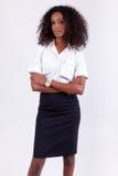 Mulher de negócio de sorriso do americano africano imagem de stock
