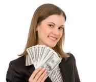 Mulher de negócio de sorriso. Isolado no branco. Imagens de Stock Royalty Free