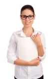 Mulher de negócio de sorriso que guardara o compartimento Imagem de Stock Royalty Free