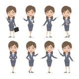 Mulher de negócio do caráter fêmea do cabelo de Chibi Brown Imagem de Stock Royalty Free