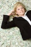 Mulher de negócio do dinheiro imagem de stock