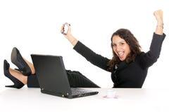 Mulher de negócio do vencedor foto de stock