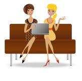 Mulher de negócio dois delgada com caderno ilustração stock