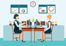 Mulher de negócio dois que senta-se na tabela Ilustração Stock