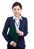 Mulher de negócio e livro de nota Fotografia de Stock Royalty Free