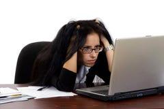 Mulher de negócio em período da crise económica Foto de Stock