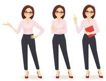 Mulher de negócio em poses diferentes Fotos de Stock
