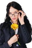 Mulher de negócio encantador nova no vestido escuro Fotografia de Stock Royalty Free