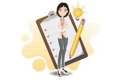 Mulher de negócio esperta feita com sua lista de verificação Imagem de Stock Royalty Free