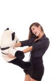 Mulher de negócio excitada que guarda o urso de peluche foto de stock