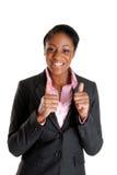 Mulher de negócio feliz com polegares acima Imagens de Stock Royalty Free