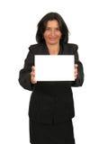 Mulher de negócio feliz com sua ilustração foto de stock royalty free