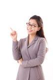 Mulher de negócio feliz, positiva que aponta acima Imagens de Stock Royalty Free