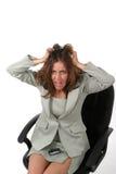 Mulher de negócio frustrante que retira seu cabelo 1. Foto de Stock
