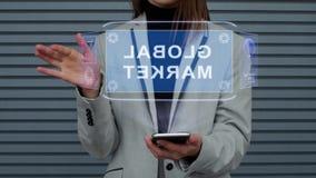 A mulher de negócio interage mercado global do holograma de HUD filme
