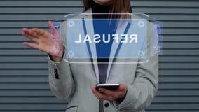 A mulher de negócio interage recusa do holograma de HUD vídeos de arquivo