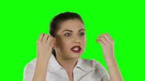 Mulher de negócio irritada Tela verde