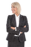 Mulher de negócio isolada de sorriso que olha lateralmente ao texto Foto de Stock
