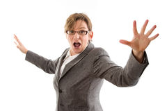 Mulher de negócio louca - mulher isolada no fundo branco Fotos de Stock Royalty Free