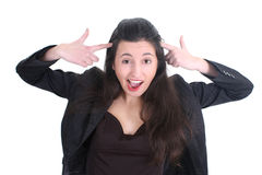 Mulher de negócio louca que grita Foto de Stock Royalty Free