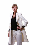 Mulher de negócio loura bonita branca fotografia de stock