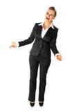 Mulher de negócio moderna de riso isolada no branco foto de stock