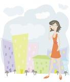 Mulher de negócio na cidade Ilustração Stock